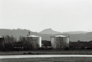 These tanks are mimicing the hills behind them.